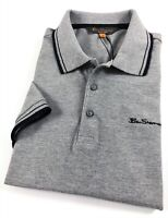 Ben Sherman Polo Shirt Men's Classic Fit Grey Marl Three Button Placket 0062104G