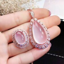 Natural Mozambican Pink/Rose Crystal 925 Silver Sterling Plated Rose Gold Set