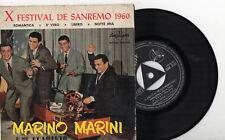 """MARINO MARINI Y SU QUARTETTO - X Festival Di Sanremo 1960, SG 7"""" SPAGNA 1960"""
