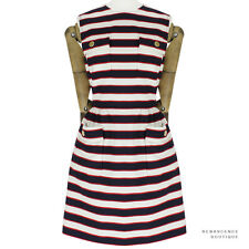 Valentino Navy Blue Red White Nautical Stripe Wool-Silk Blend Dress IT44 UK12
