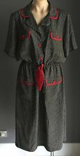 Vintage TODAY'S CLASSICS Black & White Print Dress Size 16 Red Accents