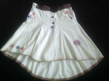 Freesoul White cord Embroidered Long Flare Gypsy skirt Hippy Arty Boho