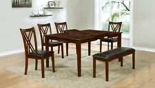 6 PC Cherry Wood Dining Set, Expand Top Table, 4 Chairs and a Bench, Solid Wood