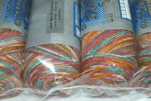 Lot of 5 Skeins I Love This Yarn Orange Burst 434 Striped Variegated Acrylic NEW