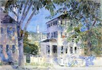Street in Portsmouth by Childe Hassam Giclee Fine Art Print Repro on Canvas