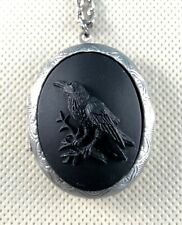 RAVEN Black on Black CAMEO LOCKET NECKLACE gothic HALLOWEEN WITCH Pill Stash Box