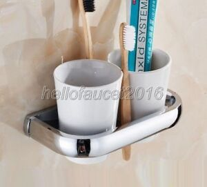 Chrome Brass Double Ceramic Cup Toothbrush Holder Bathroom Accessories Lba836