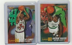 90's INSERTS LOT (2) 1996-97 FLEER LUCKY 13 EXCHANGE REDEMPTION RC CAMBY WALKER