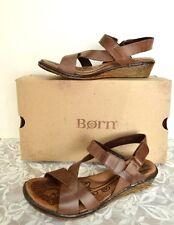 NEW Born Womens 7 38 Esmeralda Wedge Sandals Brown Leather Hook Loop Buckle