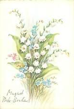 Postcard Greetings art draw Belgium flowers bouquet paint snowdrops multi color
