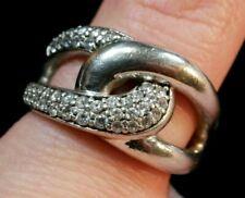 Extravaganter 925 Silber Ring Niederlande Schlaufen Optik Zirkonia Groß Fossil