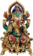 "Large Statue Ganesha On Throne Stone Work Jai Hindu God 22.2""Brass Figure 23.6KG"