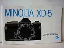 Mode d' emploi notice MINOLTA XD 5 langue anglaise appareil argentique vintage