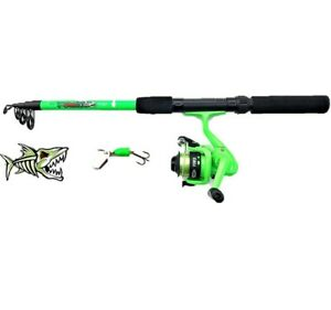 FLADEN CHILD ROD AND REEL SET WITH SPINNER GREEN TRAVEL HOLIDAY SET KIDS UNISEX