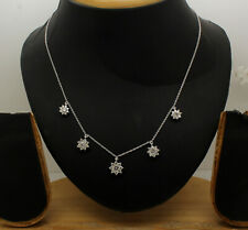 """Flower Station Necklace 1.80tcw Simulated Diamond 14k White Gold Over Chain 18"""""""