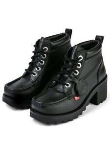 WOMENS KICKERS BLACK KLIO KICK HI LEATHER HEELED ANKLE BOOTS NEW IN BOX UK 7
