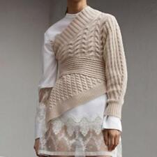 USL Runway Womens White Knit Sweater Pullover Irregular One-shoulder Tops Zhq11