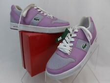 NWB LACOSTE TWO TONE VIOLET LEATHER OBSERVE LACE UP SNEAKERS 9