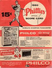 1960 7/8 G1 Baseball Program, Pittsburgh Pirates @ Philadelphia Phillies, scored