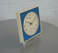 alte Europa Elomatic Uhr Wanduhr 3 Jewels Wall Clock Blau Weiß Vintage 60's RAR