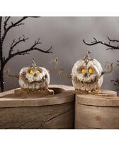 "Bethany Lowe Halloween 2 pc ""White Into The Woods Pumpkin Mini"" Jack O Lantern"