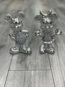 Stunning Silver Crushed Diamond Set of Mini+Micky Mouse Sparkle Ornament Bling