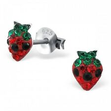 Childrens Girls Sterling Silver Red Crystal Strawberry Stud Earrings -Boxed