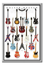 Guitar Heaven Poster Silver Framed Ready To Hang Frame Free P&P