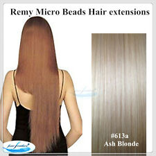 "24""India Remy Micro Beads Hair extensions 100pcs #613a Ash Blonde DOUBLE DRAWN"