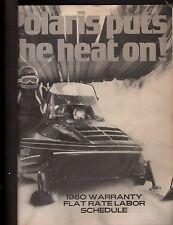 1980 POLARIS SNOWMOBILE  WARRANTY FLAT RATE MANUAL