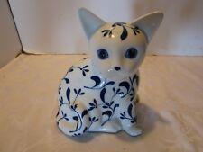 "Seymour Mann Cat Porcelain Figurine Delf blue sitting Kitty Hand painted 7"" tall"