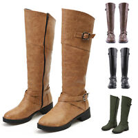 Women's Round Toe Buckle Low Heel Mid-Calf Riding Biker Martin Boots Shoes Size