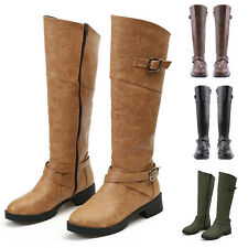 Womens Ladies Faux Leather Knee High Wide-Calf Buckle Zip Up Boots Shoes Size UK