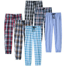 Men's Cotton Nightwear Pajamas Lounges Indoor Breathable Soft Plaid Pants