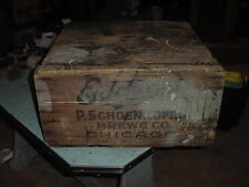 ANTIQUE PRIMITIVE WOOD SHIPPING BOX BEER CRATE EDELWEISS CHICAGO 23x21x11 1900s