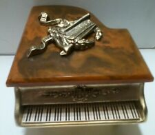Grand Miniature Piano Music Trinket Box MarbleTop Decorative Metal Vintage Frame