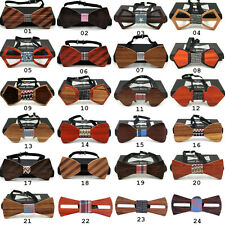 24 Wooden Bow Tie Necktie Men's Handmade Wedding Striped Wood Bowties Christmas