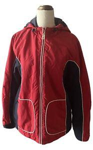 Tommy Hilfiger Tommy Jeans Red Navy Parka Coat Fleece Lined Hooded Size Large
