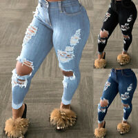 WOMEN'S HIGH WAISTED SKINNY RIPPED DENIM JEANS PANTS JEANS STRETCHY TROUSERS USA