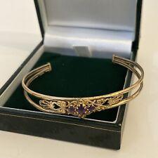 Vintage Ladies 9ct Gold 375 Amethyst Hallmarked Bangle / Bracelet