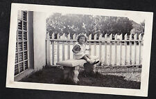 Antique Vintage Photograph Cute Little Girl Sitting on Bench by Fence in Garden