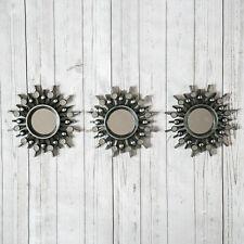3pc Round Aztec Silver Mirrors Wall Hanging Sunburst Home Art Decor Lightweight
