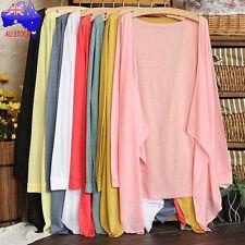 Fashion AU Women Long Thin Cardigan Modal Sun Protection Cotton Knit Tops Crop