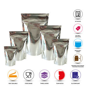 SILVER SHINY STAND UP POUCHES MYLAR BAG GRIP HEAT SEAL FOOD GRADE ZIP LOCK BAGS