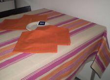 TOVAGLIA 135 x 225 cm + 8tovaglioli riga arancio rosa , tinto filo , cotone