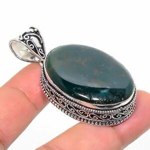 "Bloodstone Gemstone Ethnic Handmade Jewelry Pendant 1.97"" RL-8651"
