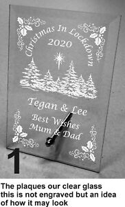 Engraved Personalised Christmas in Lockdown  Glass Plaque