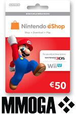 Nintendo eShop 50 Euro Card - 50€ EUR Guthaben Karte Key Code Nintendo Wii U 3DS