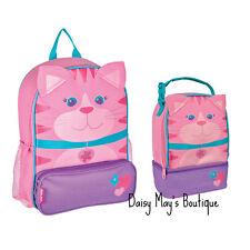 Stephen Joseph Girls Cat Sidekick School Backpack and Lunch Box - Kids Book Bags