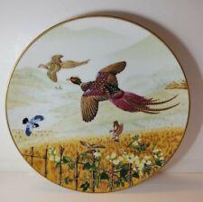 Vintage 1981 Franklin Porcelain Pheasant Bird Flower Nature Plate 24k Gold Trim